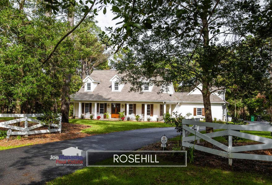 Rosehill is a Northeast Tallahassee gated community featuring a wide assortment of luxury homes that wrap around a small pond.