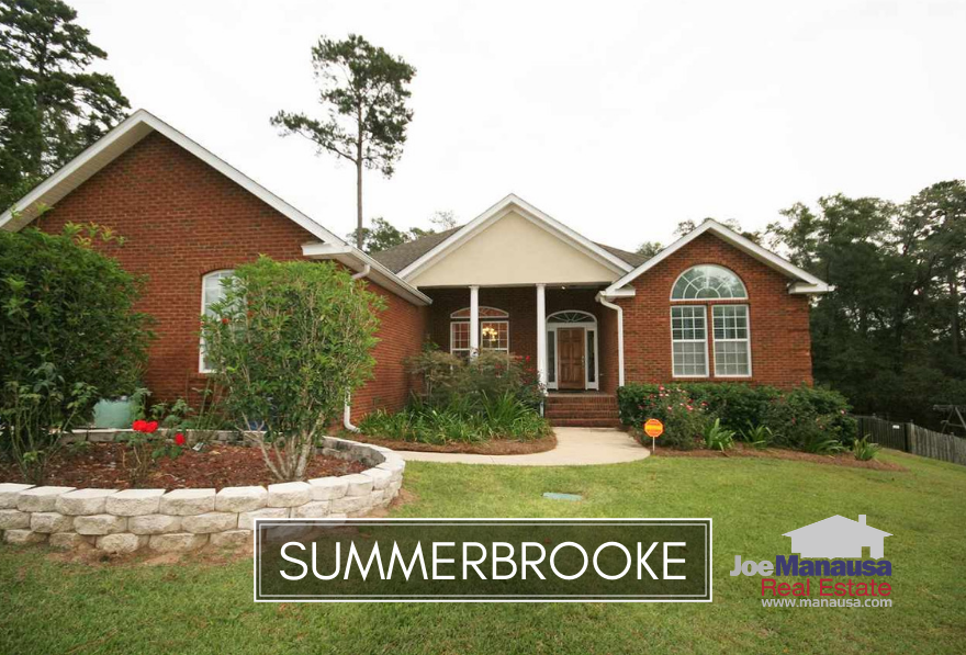 Summerbrooke is located in NE Tallahassee and features a golf course at its center and executive level homes for its residents.
