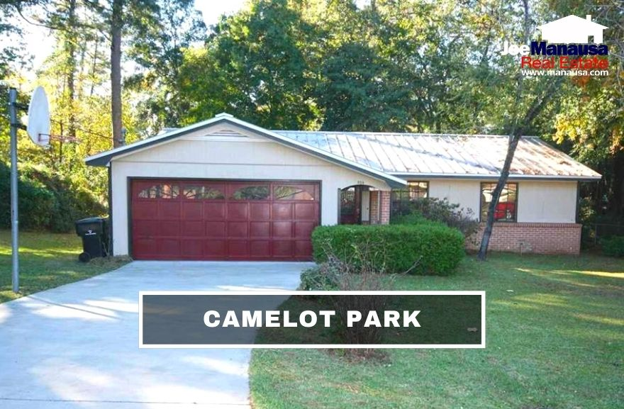 Camelot Park is a popular NE Tallahassee neighborhood that contains 366 four and three-bedroom single-family detached homes on ample-sized lots.
