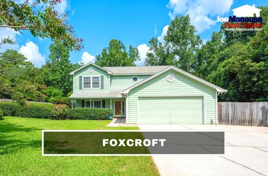 Foxcroft in NE Tallahassee contains more than 310 three and four-bedroom single-family detached homes on large, mature lots.