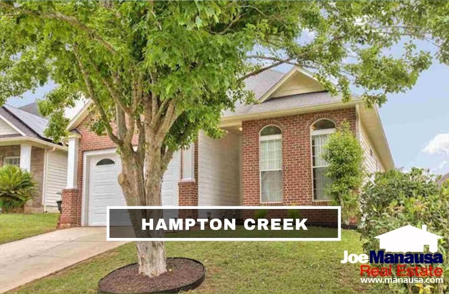 Hampton Creek is a popular Southeast Tallahassee neighborhood filled with roughly 200 detached and attached single-family homes.