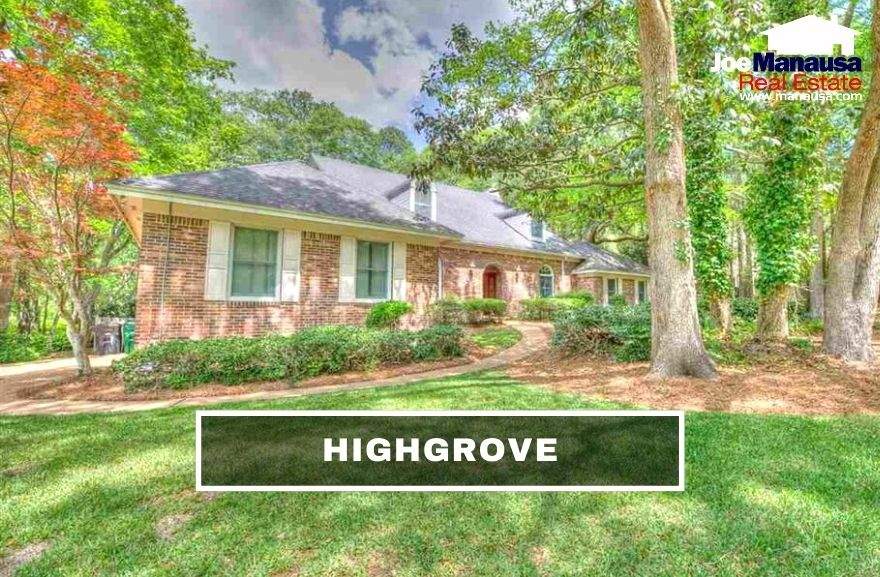 Highgrove contains 130 generous-sized five and four-bedroom homes on mature, well-manicured lots, making them super popular among today's homebuyers.