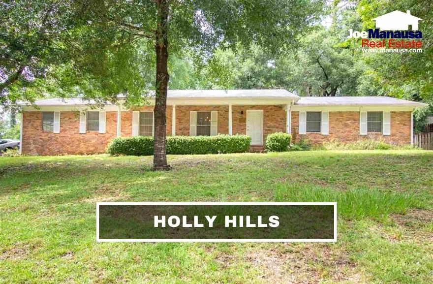 Holly Hills is a popular NW Tallahassee neighborhood that contains nearly 340 three and four-bedroom homes on nice-sized lots with mature landscaping.