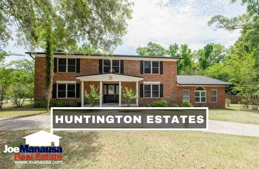 Huntington Estates is a popular NW Tallahassee neighborhood with larger three, four, and five-bedroom homes built mostly from the mid-1970s through the mid-1990s.