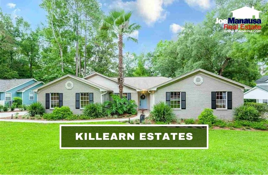 Killearn Estates in NE Tallahassee contains more than 3,800 two, three, four, and five-bedroom homes that were all built since the mid-1960s.