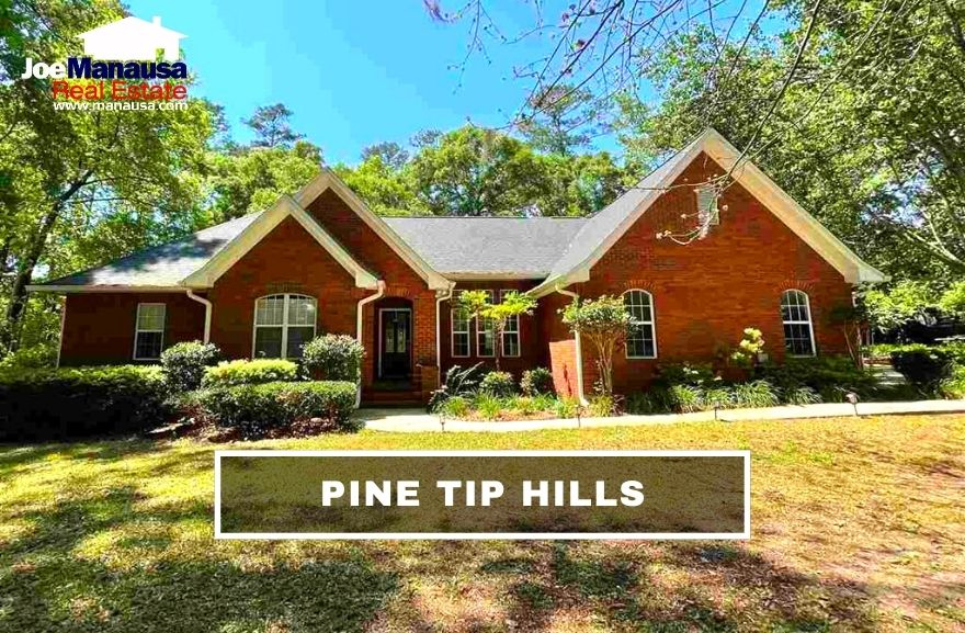 Pine Tip Hills is a small neighborhood of more than 200 large three, four, and five-bedroom homes on more than a half-acre of well-manicured lots.