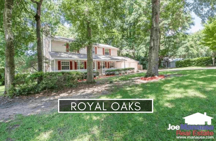 Royal Oaks is a popular NE Tallahassee neighborhood containing roughly 200 four and three-bedroom homes on nice-sized lots with prices still under $300K.