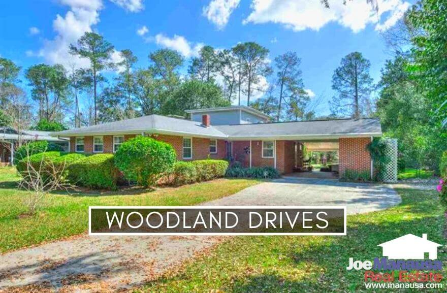 Woodland Drives is an older Tallahassee neighborhood with about 450 homes built from 1875 through 2012, with most sitting on spacious lots with mature landscaping.