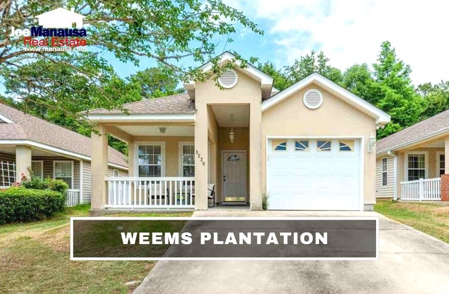 Weems Plantation is a popular NE Tallahassee neighborhood filled with roughly 350 four and three-bedroom single-family detached homes that were built in the past 20 years.