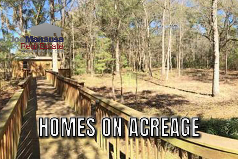 An exciting niche of homes in Tallahassee is those that have an acre or more of land beneath them