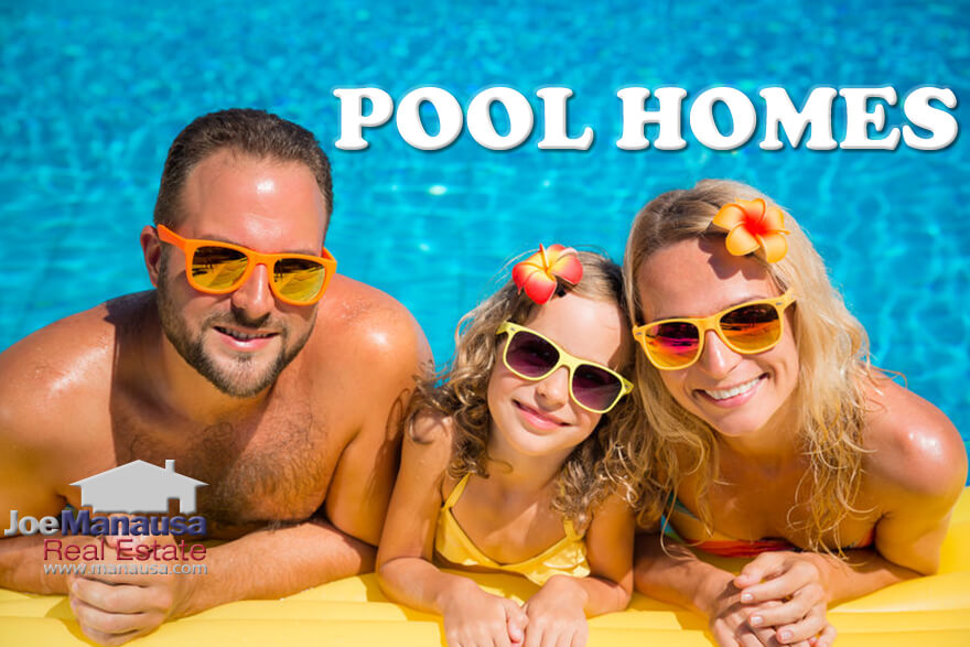 It's going to be a hot summer, so why not buy a home with a swimming pool and enjoy it!