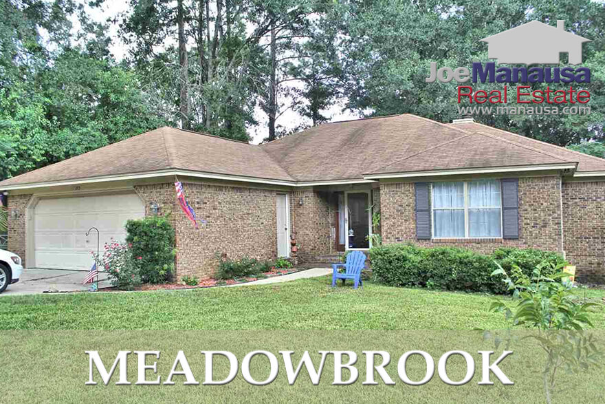 The Meadowbrook neighborhood in NE Tallahassee features 3 and 4 bedroom single family detached homes on quarter acre (+) lots