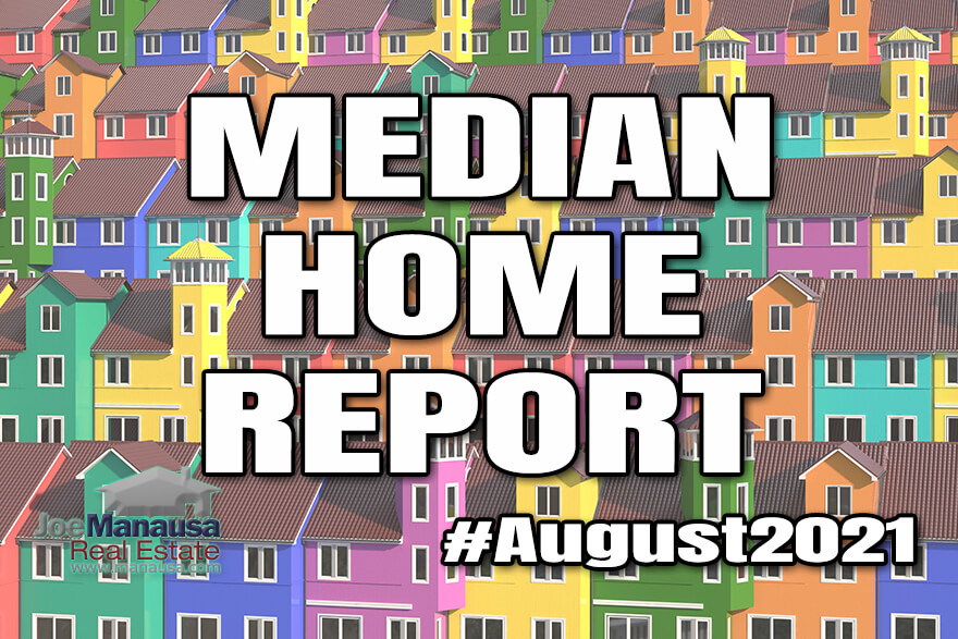 The median home price, median home value, and median home size August 2021