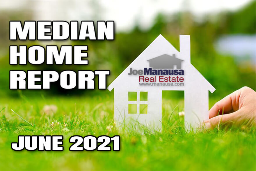 The median home price, median home value, and median home size June 2021
