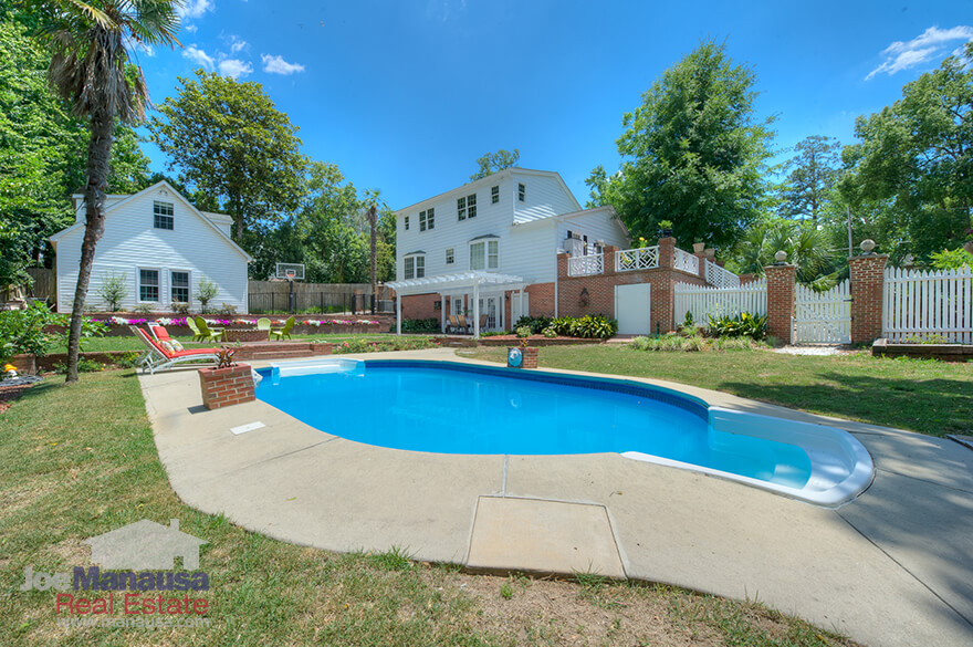 Large backyard and swimming pool in Midtown Tallahassee