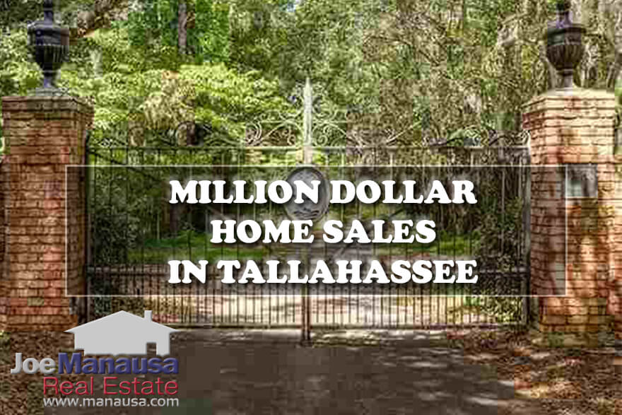 Million dollar homes for sale and full table of million dollar home sales in Tallahassee