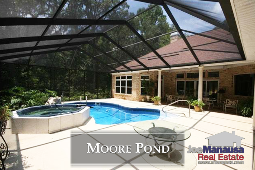 Moore Pond is a rare gated community in Tallahassee, featuring luxury homes in a private setting and surrounding a pond