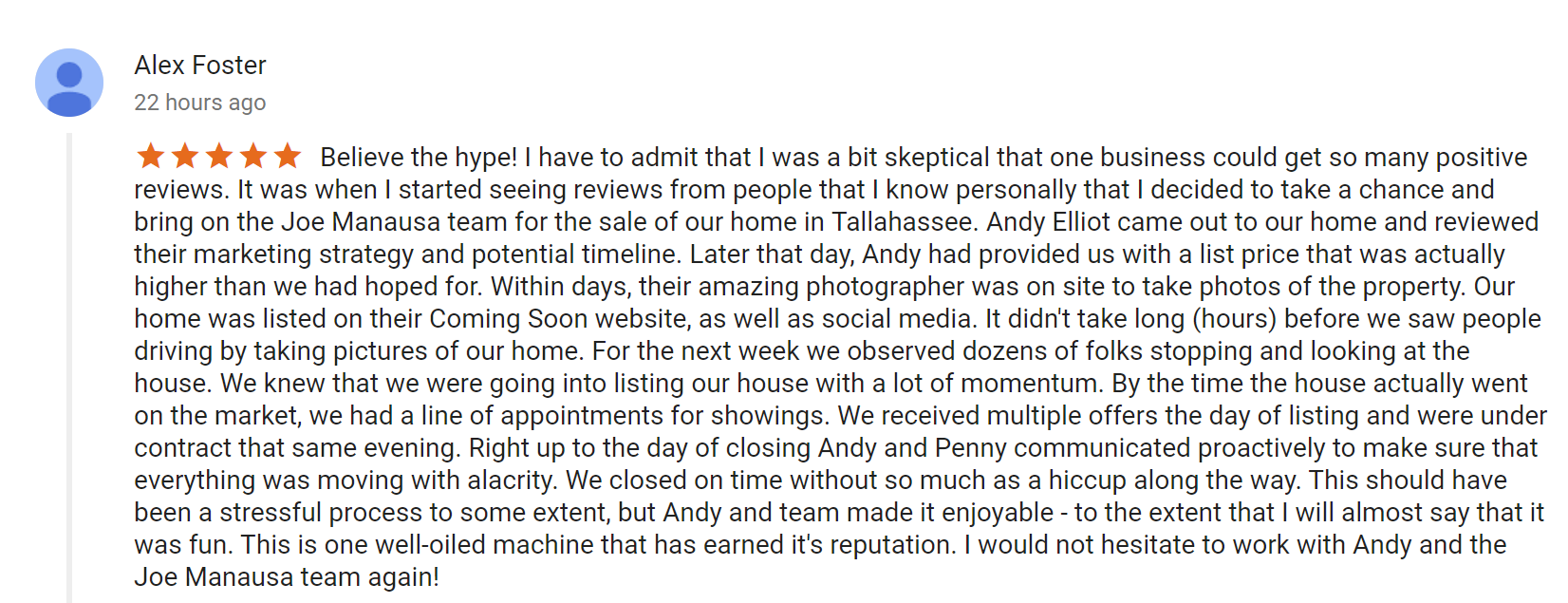 Alex Foster's Review of Joe Manausa Real Estate on Google