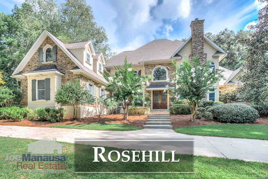 Rosehill is a luxury homes neighborhood located in NE Tallahassee. As one of a handful of gated communities in town, this limited access community has more than 80 large estates that often sell for more than $1M.