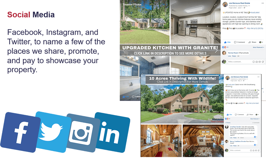 Another way we help bring massive exposure to your home is by advertising on social media