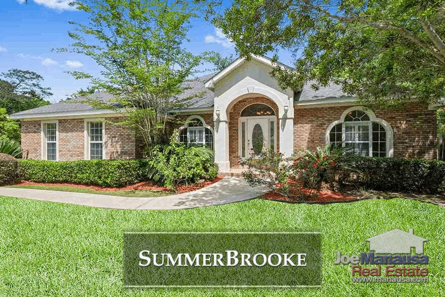 Summerbrooke in NE Tallahassee is a golf course community featuring executive brick and stucco homes on large lots.
