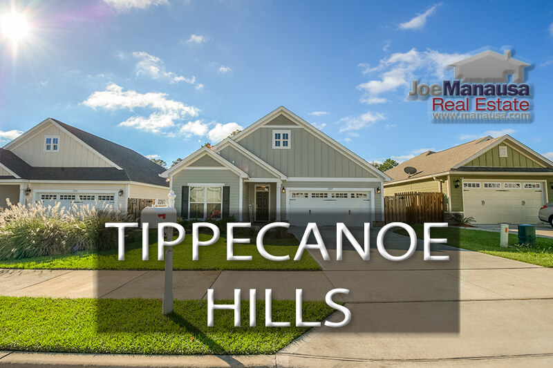 Tippecanoe Hills-Northwest Tallahassee neighborhood filled with three and four-bedroom homes.