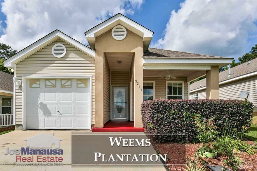 Weems Plantation, a popular NE Tallahassee neighborhood featuring three and four bedroom homes for (currently) less than $200K on average