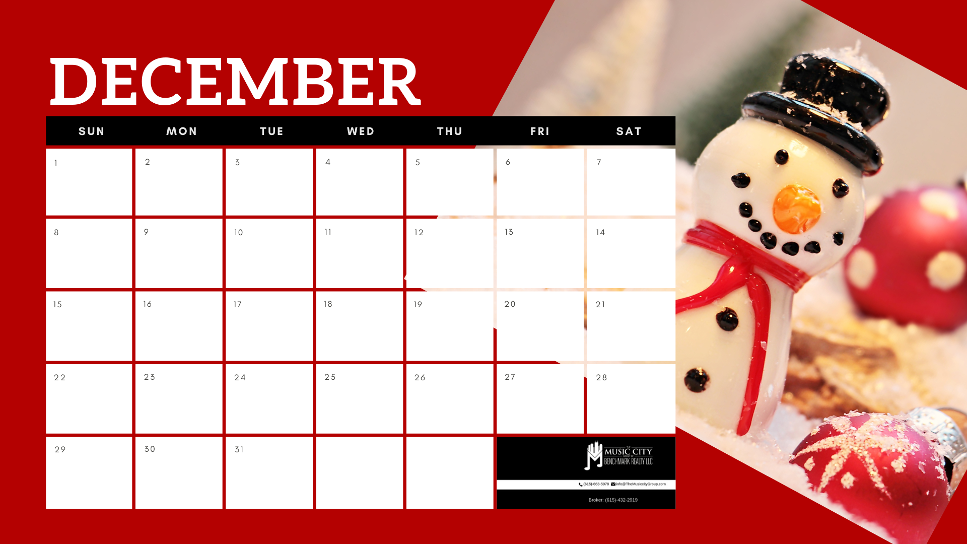 December Calendar with Snowman and ornaments