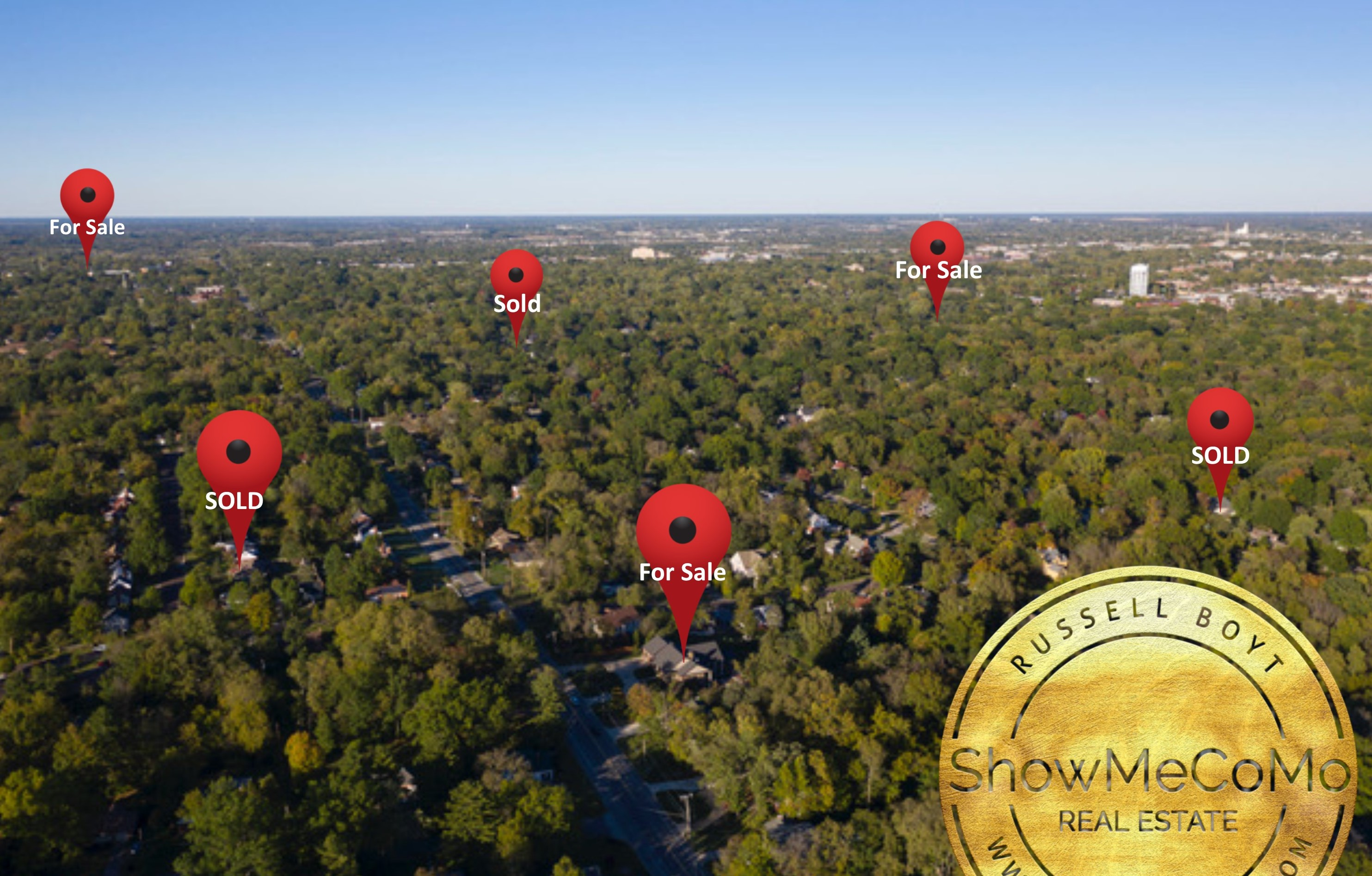 Skyline view of Columbia MO homes for sale