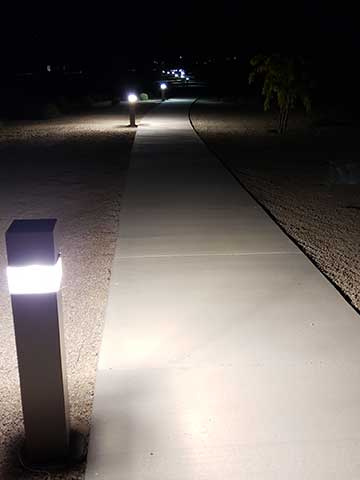 Lehi Crossing lighted walking path at night