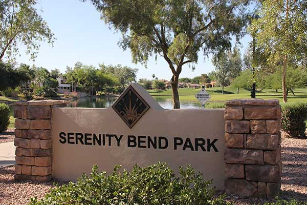 Entry monument sign to Serenity Bend Park in Chandler, AZ