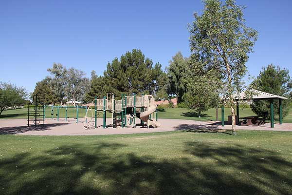Playground equipment in Serenity Bend Park in Chandler, AZ
