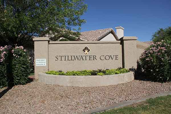 Entry monument sign to Stillwater Cove