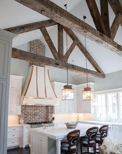 Natural wood beams in a farmhouse
