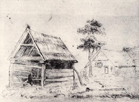Van Gogh farmhouse sketch