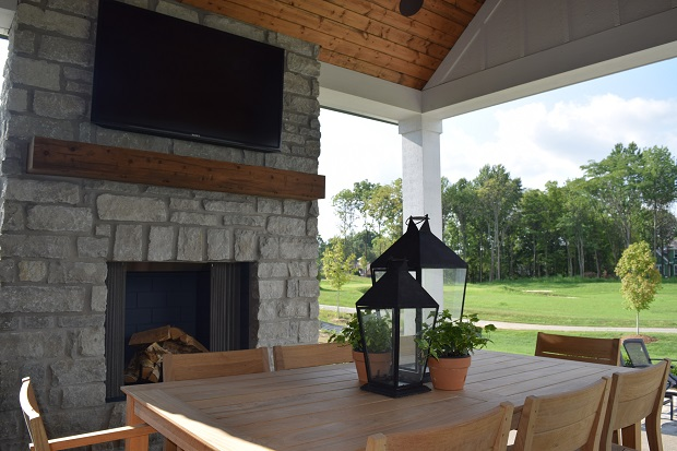 Outdoor fireplace at Chatham Hills in Westfield, Indiana