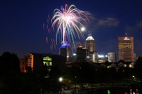 Fireworks over Downtown Indianapolis