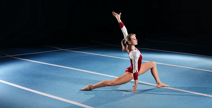 Female gymnast performing floor exercise