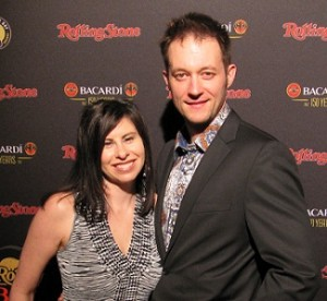 Kristie and AJ Smith at the Rolling Stone party at the 2012 Super Bowl.