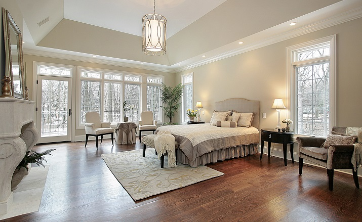 Luxurious master bedroom on main floor