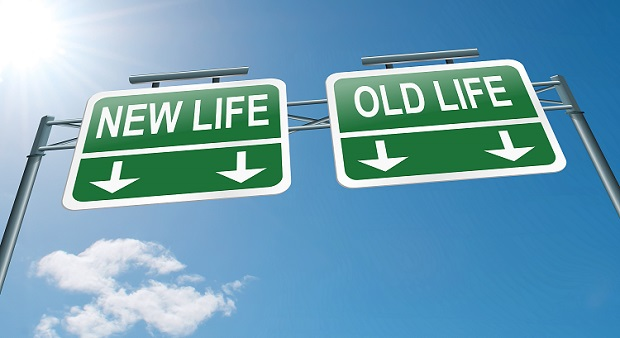 New life old life highway signs