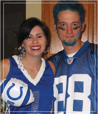 Kristie and AJ Smith as Colts fans for Halloween