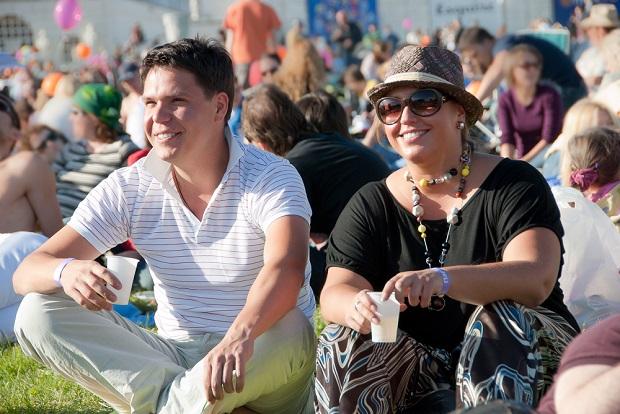 Couple enjoying outdoor festival