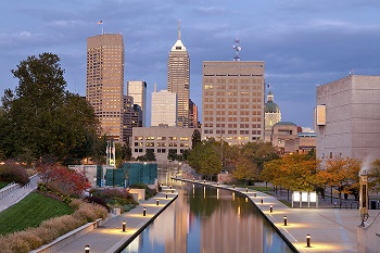 Indianapolis skyline and canal