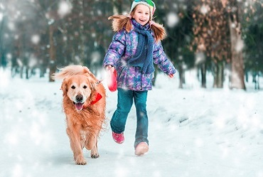 Little girl walking her dog in snow