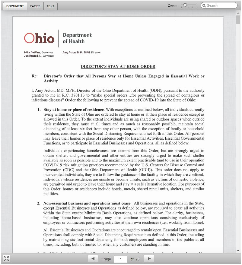 Ohio Department of Health - Stay at Home Order