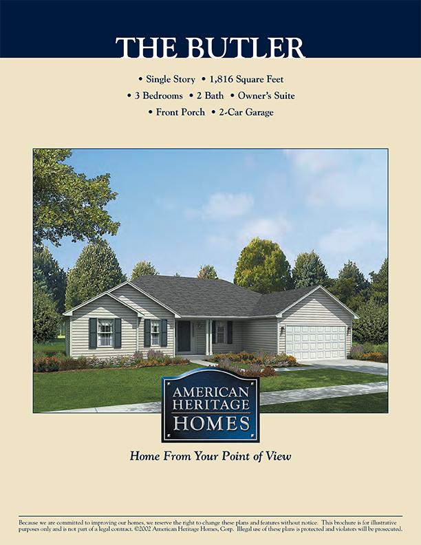 Heritage Homes Floor Plans | The Butler Floor Plan American Heritage Homes