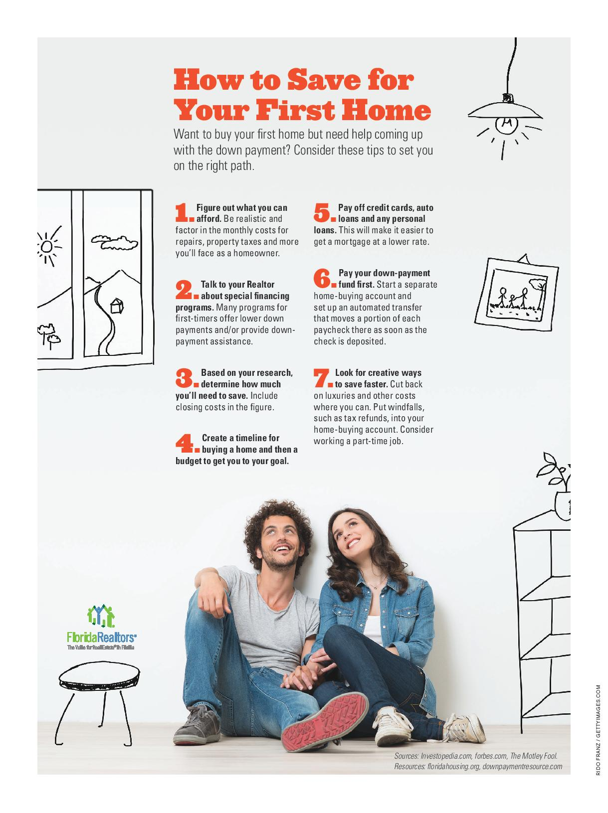 Want to buy your first home but need help coming up with the down payment? Consider these tips to set you on the right path.