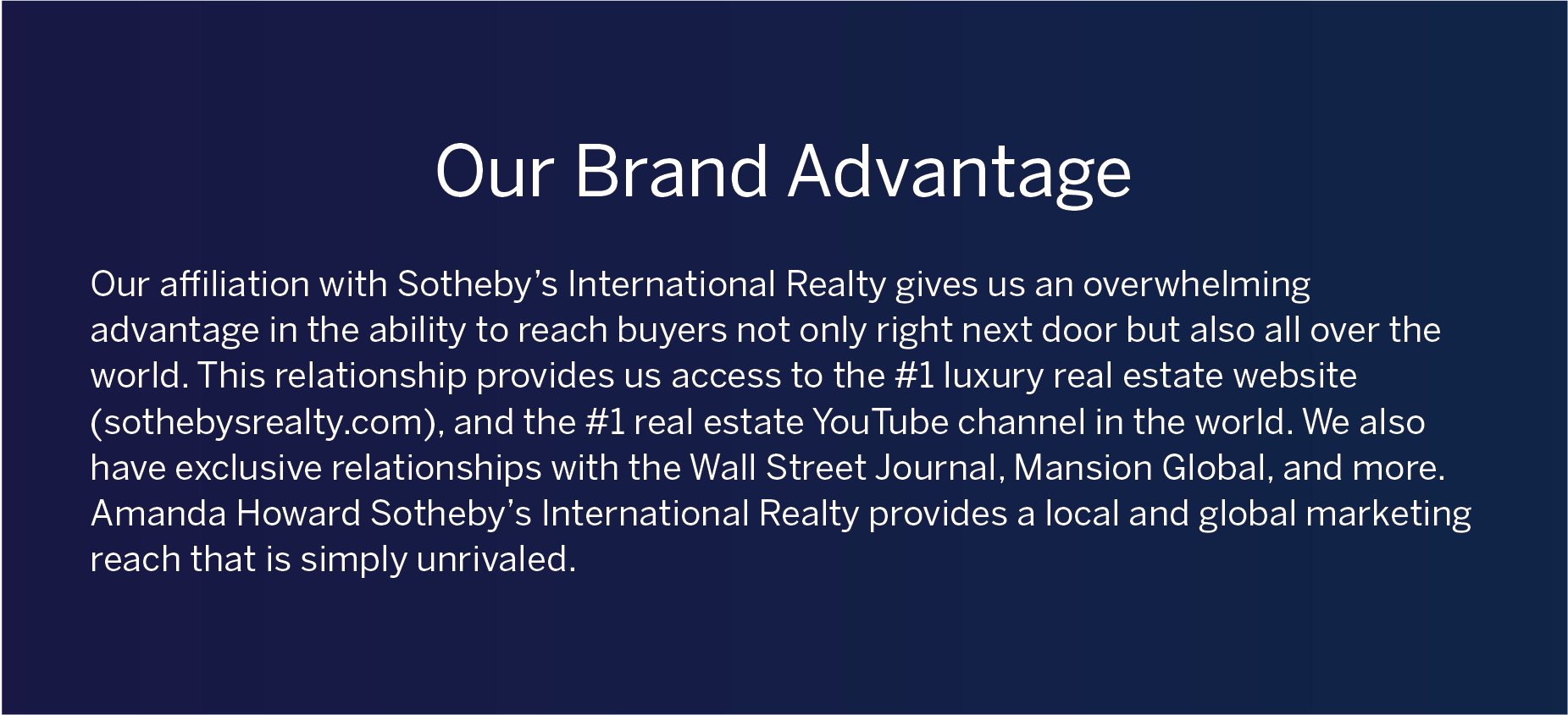 Our Brand Advantage