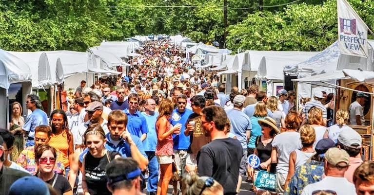 People attending the annual Virginia Highland Summerfest.